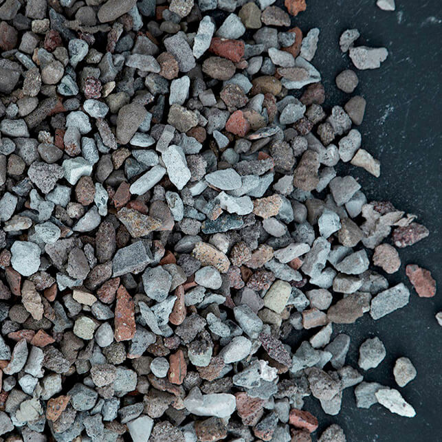 10mm recycled aggregate is comprised of deposits of mainly, brick, rock, tiles and demolition concrete